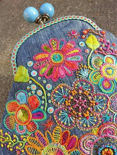 Cute color combo for hand embroidery on denim . Embroidery Applique, Beaded Embroidery, Cross Stitch Embroidery, Embroidery Patterns, Embroidery Purse, Cross Stitches, Stitch Patterns, Sewing Crafts, Sewing Projects