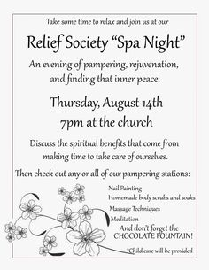 relief society spa night -