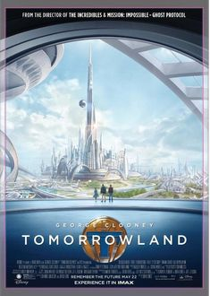 The Tomorrowland IMAX Poster with Athena, Frank and Casey looking at a restored Tomorrowland is one of my favorites. This looks to be a time mash-up because we don't ever see Athena in her dress with an older Frank and Casey. Disney Tomorrowland.