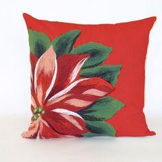 Visions II Poinsettia Indoor/Outdoor Throw Pillow