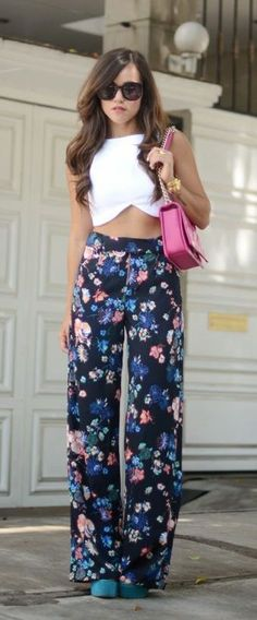 #summer #fashion / crop top + floral pants