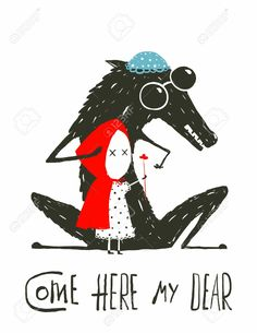 Scary Wolf Disguised As A Grandma Illustration For The Fairy Tale Little Red Riding Hood
