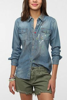 BLANKNYC Paint Splatter Chambray Shirt