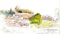 Marvellous watercoloured sketchbook's page by Studio Blue Sea (Pippa and Miles). Depicting Alcoutim, Portugal - once an important fortress and fluvial port on the Portuguese border along the Guadiana River. http://en.wikipedia.org/wiki/Castle_of_Alcoutim