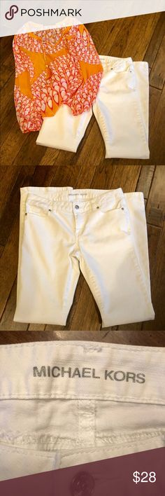 """Michael Kors women's size 2 white jeans / pants EUC Michael Kors bright white size 2 women's pants. Feels like jeans material. No stains. Like new! Waist is 15 1/2"""" across , rise is 9"""" and Inseam is 32"""". Bootcut Michael Kors Jeans Boot Cut"""