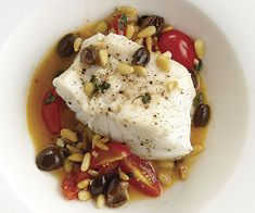 Black Cod and Pine Nuts, Tomatoes, and Olives from fine cooking Olive Recipes, Fish Recipes, Seafood Recipes, Cooking Recipes, Healthy Recipes, Bacon Recipes, Healthy Dinners, Quick Recipes, Tapas