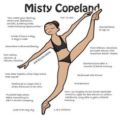 Misty Copeland is one of the most influential ballerinas of modern day. She stood up to major injustices in the ballet world. With her action sparked a reform for the ballet stereotype of body & skin color. Our ballet community is no longer conforming to Art Ballet, Ballet Moves, Ballet Dancers, Ballet Steps, Ballet Body, Dance Tutorial, Tutu Tutorial, Dance Positions, Dancer Workout