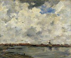 Jacob MARIS (Nederlands kunstenaar, 1837-1899): Een molen en huizen bij het water - stormachtige lucht
