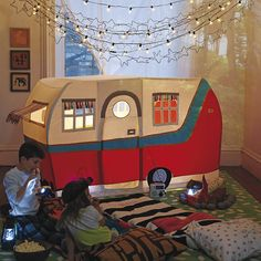 It's always playtime in Land of Nod playhouses and teepees. No kids' room or playroom is complete without a steller playhouse, teepee or tent. Toys For Boys, Kids Toys, Indoor Playhouse, Little Campers, Land Of Nod, Camping Theme, Camping Room, Camping Beds, Family Camping