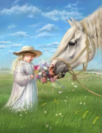 GREY HORSE AND GIRL COUNTED CROSS STITCH PATTERN $7.00