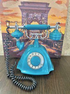 USSR retro phone 1986,Parma phone,Vintage phone,Dial telephone,Stylish telephone,Turquoise phone,Soviet desk telephone,Green phone,Homephone
