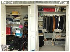 Closet mess? Check out how this IKEA blogger got organized and created a custom DIY closet using the ALGOT shelving system!
