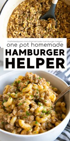 This Homemade Hamburger Helper recipe is a cheesy, comforting, and delicious one-pot meal the whole family will love! So much better than the boxed version, have this easy 30-minute dinner ready and on the table in just 30 minutes! Side Dish Recipes, Healthy Dinner Recipes, Whole Food Recipes, Delicious Recipes, Homemade Hamburger Helper, Hamburger Dishes, Beef Recipes, Skillet Recipes, Pasta Recipes