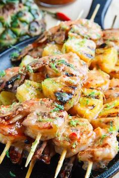 grilled coconut and pineapple sweet chili shrimp.