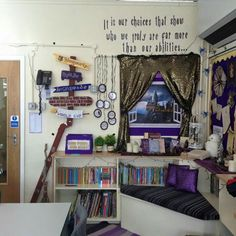 Superb reading corner by fb user Stephanie Sian. reading area challenge at her school. Book Corner Classroom, Reading Corner Kids, Middle School Reading, Reading Nook, Reading Areas, Harry Potter Library, Harry Potter Classroom, Teaching Displays, School Displays