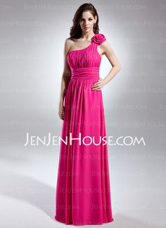 Bridesmaid Dresses - $128.99 - A-Line/Princess One-Shoulder Floor-Length Chiffon Bridesmaid Dress With Ruffle (007015613) http://jenjenhouse.com/A-Line-Princess-One-Shoulder-Floor-Length-Chiffon-Bridesmaid-Dress-With-Ruffle-007015613-g15613
