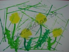 Pampeliška- špachtle, tempery Kids Crafts, Plants, Spring, Painting, Anna, Crafting, Painting Art, Paintings, Plant