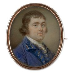Portrait miniature of a Gentleman, wearing a lilac-coloured coat with gold braided button holes and a matching waistcoat and white lace stock.  Jeremiah Meyer R.A. (1735-89)