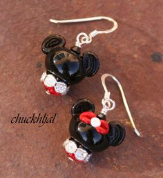 Disney Inspired One Mickey and One Minnie Mouse DeSIGNeR EaRRiNgs makes this a match made in Magical Heaven by TheGlassPixie on Etsy Disney Inspired Jewelry, Disney Jewelry, Mickey Mouse Birthday, Minnie Mouse, Mickey Mouse Earrings, Disney Earrings, Crystal Beads, Glass Beads, Beaded Animals
