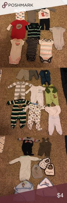37 Piece Boys Newborn Set ❤❤❤ Includes:8 short sleeve onesies, 7 body onesies, 2 shirts, 4 pants, 1 sleeper, 3 newborn bibs, 2 soft hooded towels, 3 blankets, 4 thick cushioned burp rags, 1 pair of newborn loafer style shoes and 2 pairs of Nike air Jordan booties still in the box. Everything is $4/a piece (except the shoes) or $80 for the whole lot. Paid a little over $250 for it originally from a couple different brands. Barely used my son was 10 pounds lol smoke free home. Thanks for…