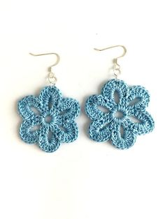 Best 11 Throw on these cute crochet earrings for a casual day out on the town! These earrings are handmade by New Orleans local artist, Lady Valkryie. Available in a varie Crochet Jewelry Patterns, Crochet Earrings Pattern, Crochet Flower Patterns, Crochet Accessories, Crochet Flowers, Thread Crochet, Love Crochet, Crochet Gifts, Crocheted Lace