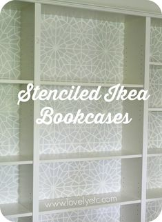 Ikea Hack: Stenciling the backing of cheap Billy bookcases adds tons of character and hides the fact that it's really just a big piece of cardboard. Such a pretty update! Billy Bookcase Hack, Billy Bookcases, Funky Furniture, Furniture Makeover, Painting Furniture, Wallpaper Bookcase, Cheap Bookcase, Diy Home Decor, Room Decor