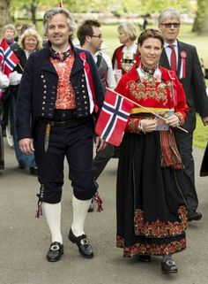 Princess Martha Louise and Ari Behn take part in a parade in Southwark Park as they celebrate 2013 Norway National Day