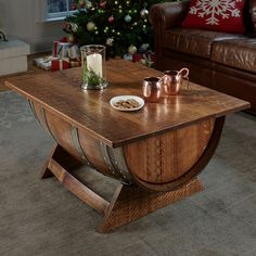 Buy the Personalized Reclaimed Wine Barrel Coffee Table With Unique Lift-Top at Wine Enthusiast – we are your ultimate destination for wine storage, wine accessories, gifts and more! Whiskey Barrel Coffee Table, Whiskey Barrel Furniture, Wine Barrel Bar, Wine Barrel Furniture, Whiskey Barrels, Wine Barrel Table Diy, Coffee Tin, Vintage Coffee, Coffee Maker