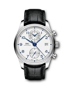 @iwcwatches Portugieser Chronograph Classic in steel with silver-plated dial, blued hands and appliqués (Ref. IW390302), and black alligator strap.  More @ http://www.watchtime.com/wristwatch-industry-news/watches/iwc-updates-the-portugieser-chronograph-classic/ #watchtime #iwcwatches #chronograph