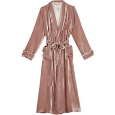 Velvet Robe de Chambre (3.180 BRL) ❤ liked on Polyvore featuring jackets, coats, brown robe, velvet robe, dressing gown, brown bath robe and bath robes