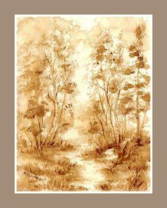 Droga przez las -  watercolour painted with coffee  http://www.artmarylacoffee.pl/