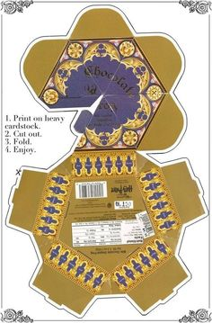 Chocolate Frog box pattern. Print on card stock, cut out, fold and glue. ~silvernarnia~