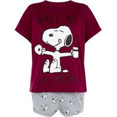 Purple Snoopy Pyjamas Set ($23) ❤ liked on Polyvore featuring intimates, sleepwear, pajamas, purple pajamas and purple pjs