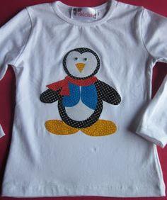 Camiseta infantil pingüino. Patchwork