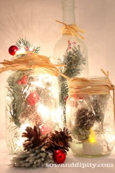 frosted illum mason aries, crafts, mason jars, seasonal holiday d cor, I love the look of this vignette All you do is use a can of spray crystals to create the frosted look masonjar christmasdecor Noel Christmas, Diy Christmas Gifts, Christmas Projects, Winter Christmas, All Things Christmas, Holiday Crafts, Holiday Fun, Christmas Decorations, Christmas Ornaments