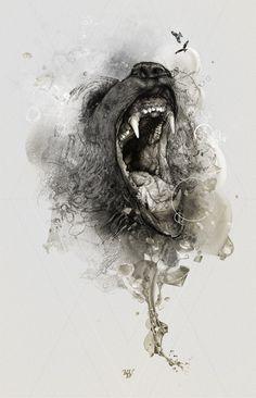 """""""Trust theKDU"""" by StudioKxx Krzysztof Domaradzki. {vicious bear animal head jaws b+w drawing} Wow!"""