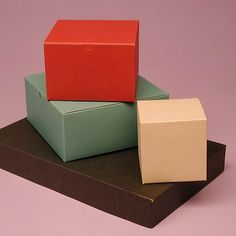 """One Piece Color Tinted Kraft Tuck Top Gift Boxes 4 x 4 x 4"""" $23 100 qty"""