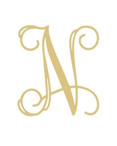 Unfinished Wooden Paintable Single Vine Monogram Letter (N) - Modern Vine Monogram, Monogram Letters, Name Wallpaper, Wooden Alphabet, Letter N, Wood Cutouts, Diy Painting, Vines, Cricut