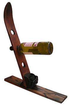 Wood Ski Wine Rack | snowzine.com