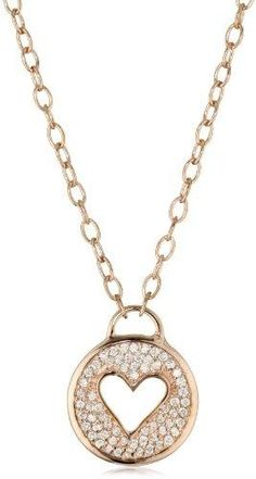 Argento Vivo Brushed Metals Round Pendant Necklace with Heart Cutout Necklace