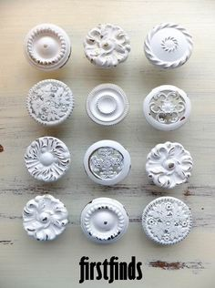 MISFIT 12 knob set  shabby chic white furniture by Firstfinds, $57.00