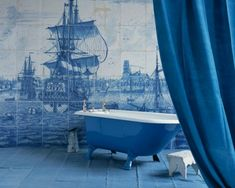 tiled wall this galleon blue and white wall tile be so amazing around a pool in a courtyard garden like mine