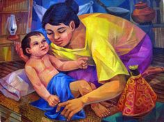 Vicente Silva Manansala (January 1910 - August was a Philippine cubist painter and illustrator. Manansala was born in. Filipino Art, Filipino Culture, Artists Like, Various Artists, Philippine Art, Philippines Culture, Simple Acrylic Paintings, Classic Paintings, Mother And Child