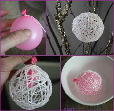 DIY Pretty String Ball Decoration for Christmas - - Diy Christmas Decorations Easy, Ball Decorations, Holiday Crafts, Christmas Crafts, Christmas Ornaments, Christmas Christmas, String Crafts, Diy Crafts, Yarn Balloon