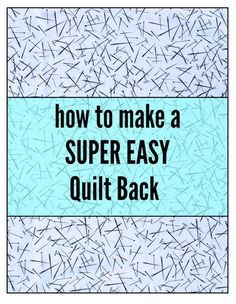 The only part of making a quilt that I do not enjoy is sewing the quilt back. - The only part of making a quilt that I do not enjoy is sewing the quilt back. I just hate calcula - Quilting For Beginners, Quilting Tips, Sewing Projects For Beginners, Quilting Tutorials, Sewing Tutorials, Beginner Quilting, Quilting Projects, Longarm Quilting, Hand Quilting