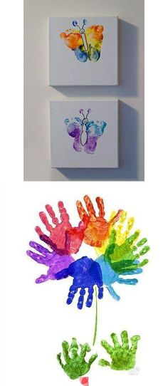 Using hand prints to make a flower and foot prints to make butterfly wings is so unique