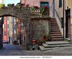 view of pignone, spezia, italy (orange flag)