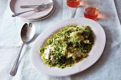 Spaghetti Squash with Kale Pesto and Burrata  Omit any non-compliant ingredients and still have a great dish.
