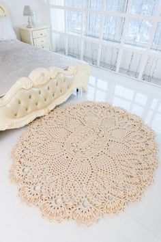 """Big crochet rug, oval area rug (72 х 61  in), doily rug, yarn lace mat, cottage nursery carpet, rustic floor decor by LaceMats """"LaceLotus"""""""