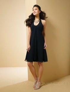 A-Line Halter Short Chiffon Bridesmaid Dress